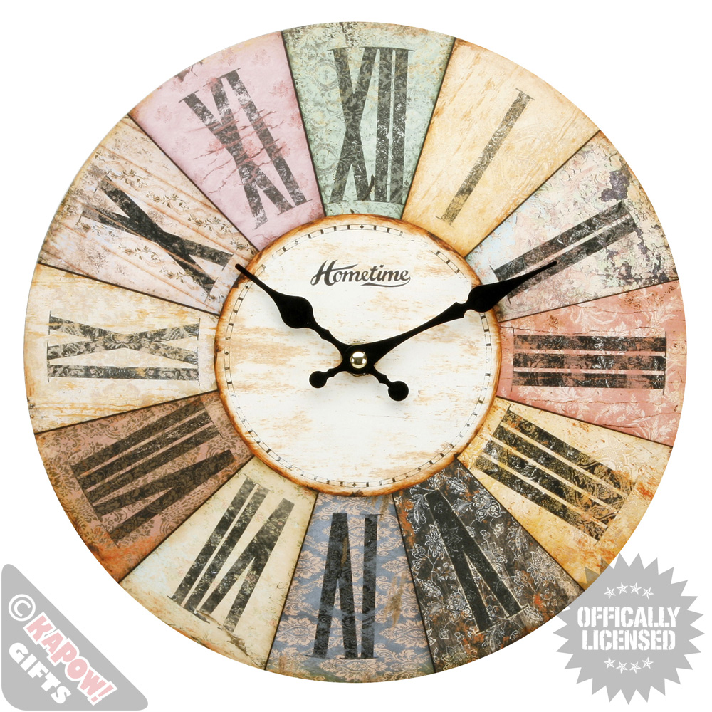 Vintage Wall Clock Wooden Shabby Chic Woolston Design
